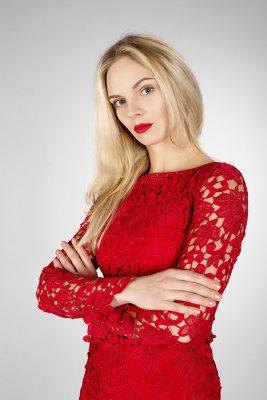 Платье футляр Red Шелк- Julia Dreva